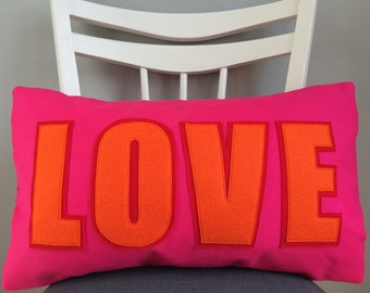 LOVE CUSHION - Blocky Pink & Orange