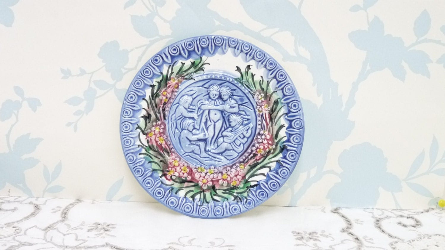 Blue And White Decorative Wall Plates Delectable Blue And White Wall Plate Or Plaque In Relief 3D Hand Made Review