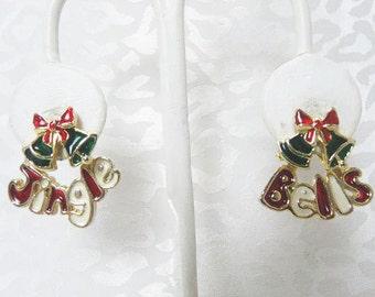 Christmas Pierced Earrings/ Enameled Jingle Bell Pierced Earrings