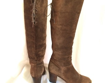 1970s Italian Suede Slouch Boots Lace-up Sz. 8