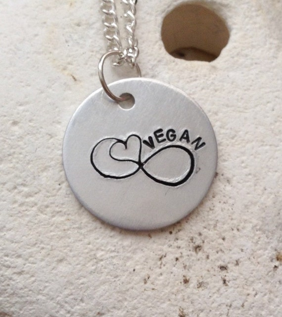 Vegan Infinity heart necklace, vegan for her, vegan for life