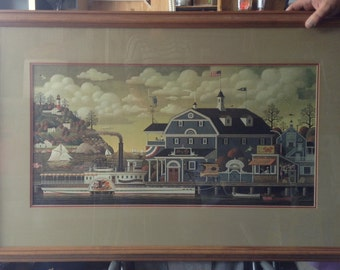 Charles Wysocki - The Wharf Print in a Framed Double Mat