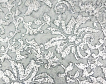 Beyonce Lace Fabric - Evening Gown Lace - Sold by the yard [Silver]