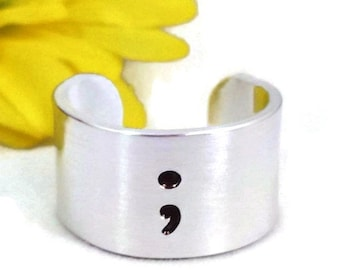 Suicide Awareness, Semicolon Ring, Awareness, Self Harm, Mental Illness, Depression, Crohns, Ulcerative Colitis, Partial Bowel Removal