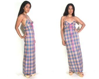 Vintage 60s 70s Madras Rainbow Plaid Gingham Halter Backless Maxi Dress Lace up Hippie Glam