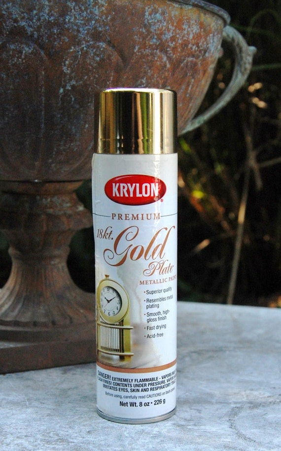 metallic finish spray paint aerosol can 8 ounce 18 k 18k golden metal. Black Bedroom Furniture Sets. Home Design Ideas