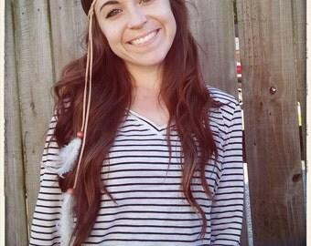 Tan Boho Hippie Feather Headband