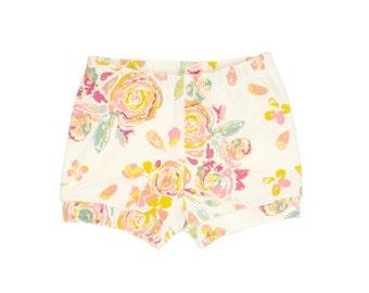 Baby Shorts, Toddler Shorts, Girls Shorts, Harem Shorts, Shorties, Bummies, Diaper Cover, Bloomers, Floral Shorts, Watercolor Floral