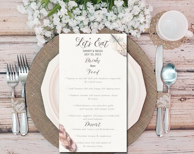 Printable Wedding Table Menu, Bohemian Feather Watercolor, Classic wedding menu, Boho Menu, Drinks Menu, DIY Printable Menu