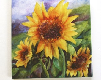 Sunflowers Tile Trivet Original Watercolor