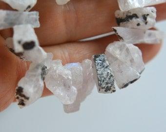 Rainbow Moonstone Raw Nuggets with Black Tourmaline Crystals