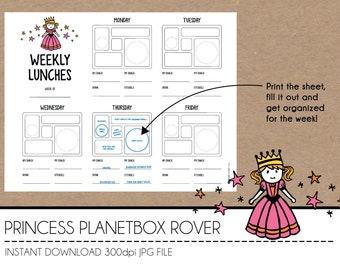 Instant Download Lunch Planner - Princess PlanetBox Rover