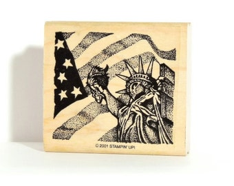 """Stampin' Up! Rubber Stamp - Statue of Liberty with Flag  - 2-3/8"""" x 2-1/8"""" Wood Mounted - Great for Memorial Day Veteran's Day 4th of July"""