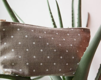 Light Brown Linen Cosmetic Bag (Cosmetic Storage) with White Polka Dots - Cosmetic Pouch