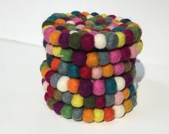 Multicolor Round Felt Ball Tea Coaster Set of 6