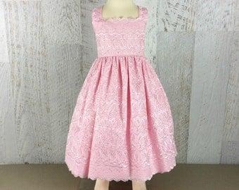 Pink Sundress, handmade girls dress, special occasion dress, broderie anglaise dress, summer dress, party dress