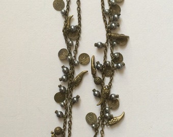 Vintage antique French brass long charming necklace