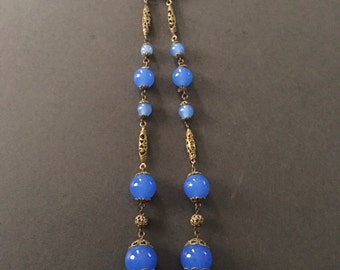 Art Deco Glass Bead Necklace with Filigree