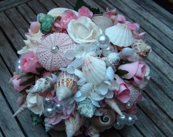Wedding Bouquet, Beach Wedding Bouquet, Sea Shell Bouquet, Nautical Bouquet