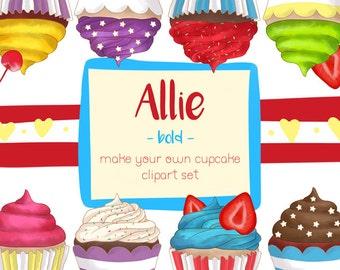 Cute Bright Colors Cupcake Clipart