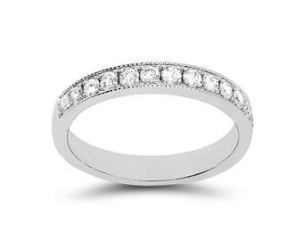 14k solid white gold diamond wedding band. .46ct diamond wedding band.