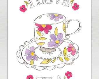 I Love Tea Print A5