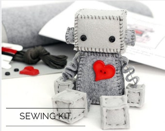DIY Kit Felt Robot - Make Your Own Robot Plush - Includes Pattern and Supplies - Craft Pattern - Gift