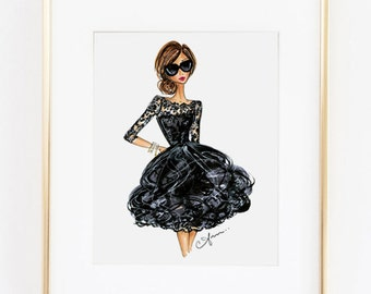 Fashion Illustration Print, Oscar de la Renta, 8x10""