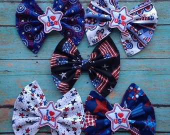 4th of July Embroidered Fabric Bow - God Bless America - Independence Day - Patriotic