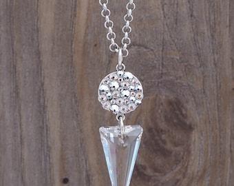 Beautiful swarovski 28mm spike necklace/ Swarovski Crystal spike / elegant crystal necklace