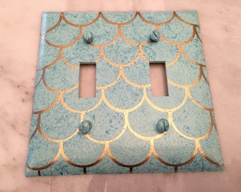 Mermaid Scales Double Toggle Light Switch Plate Wallplate, Ocean Mist with Turquoise Sparkles and Gold Scales