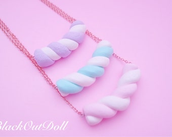 Marshmallow Twist Cute Fluffy Soft Dessert Candy Treats Necklace Harajuku Sweet Lolita Kawaii
