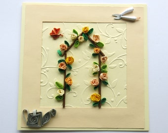 Birthday card - blank card - greeting card - floral card - Roses card - handmade card - feminine card -  uk seller
