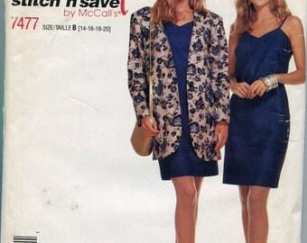 1990s  Dress  Pattern McCalls 7477 Spaghetti Strap Dress Sewing Patterns Jacket Sundress Size 14-20, uncut