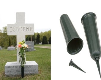 New Set of 2 Cemetery Grave Patriotic Memorial Veterans Flower Cone Vase