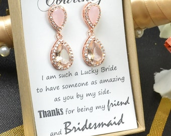 Blush Champagne Earrings Peach Pink Silver Earrings Teardrop peach silver earrings- Bridesmaid Earrings Wedding Earrings Bridesmaid Jewelry