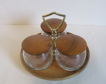 vintage myrtlewood condiment caddy holder dispenser tray server set bowls ice cream sundae bar toppings - Condiment Caddy