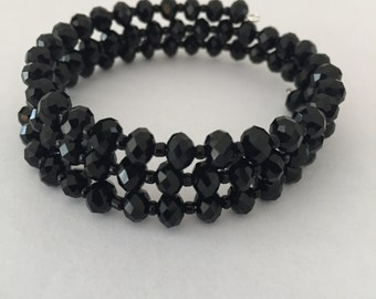 Black Crystal Memory Wire Bracelet