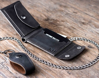 Biker Wallet - Wallet - Men's Dark Leather Biker Wallet - Chain Wallets - Manly Man Wallets -- Listing# 038