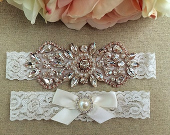 Rose Gold Wedding Garter Set - Bridal Garter - Rhinestone Garter- Rose Gold Pearl and Rhinestone Garter and Toss Garter Set on Ivory Lace