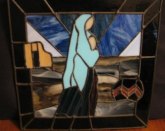 Madonna and Child Leaded Stained Glass Wall Hanging or Window Hanging