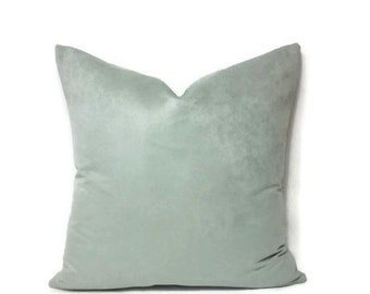 Light Mint Faux Suede Pillow Cover