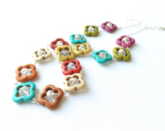 Colorful Howlite Flower Necklace