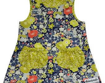 Size 12-18 months Reversible Pinafore Dress, Pinafore Dress, Reversible Dress, A-Line Dress, Girls Outfit (Electric & Apple) READY TO SHIP