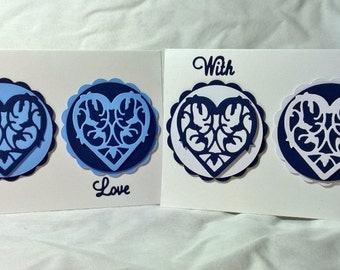 Three Decorative Hearts Card
