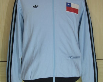 Vintage Adidas Chile world cup 1982 soccer football retro Tracksuit top Warm Up Track top Zip up Jacket Retro Mens M Rare