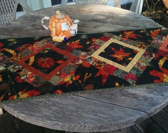 Autumn Table Runner, Quilted table runner, dramatic, with black background.  Orange, yellow, green. Fall colors. 17 x 56 inches. Great gift.