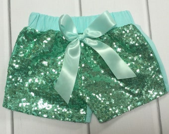 Sequin Shorts | Gold Sequin Shorts | Jade Sequin Shorts | Baby Girl Shorts