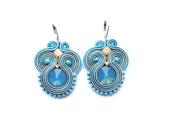 Blue and beige - soutache earrings ! boucles d'oreilles soutache,orecchini soutache,elegant