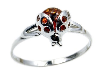 Cute Ladybug Baltic Amber & .925 Sterling Silver Ring Size 4, 5.5, 6.5, 4.75, AD618, AD619, AD620, AD621